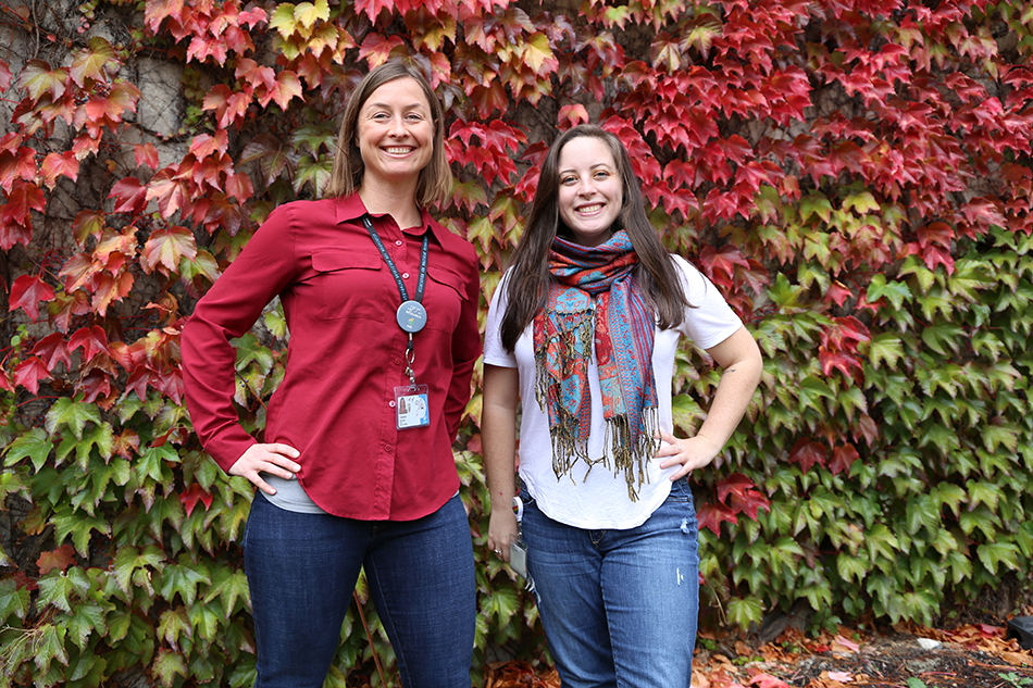 Kylie McPherson, NGP grad student (right), is a Research Leadership Scholar