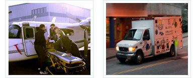 DCH PANDA Dispatch, 2 pictures - PANDA team loading airplane and PANDA ambulance